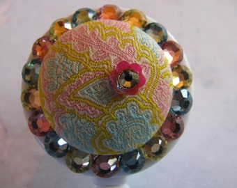Retractable ID Reel  Badge Holder Fabric Button with Swarovski elements