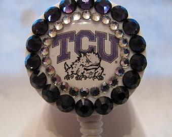 TCU Texas Christian University ID Badge Holder Swarovski Crystal Retractable Reel