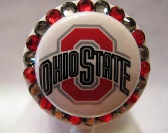 Ohio State Name Tag ID Badge Holder Reel using Swarovski Elements Buckeyes