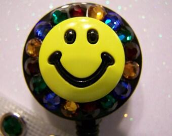 Smiley Face ID Badge Reel, Retractable iD Badge Holder, Nurse Badge Reel, Name Badge Holder, Pediatric Badge Reel, with Swarovski Elements