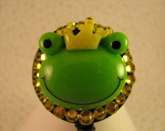 Frog Prince ID Badge Holder Retractable Reel with Swarovski Elements
