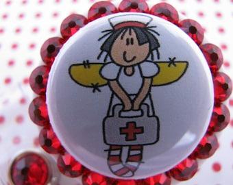 Nurse Retractable ID Badge Reel Ragamuffin Angel Nurse ID Badge Holder using Swarovski Elements