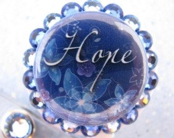 Hope ID Badge Holder Retractable Reel using Swarovski Elements