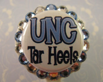 UNC Tar Heels Bling ID Badge Holder Reel using Swarovski Elements Teacher Nurse Name Tag Holder