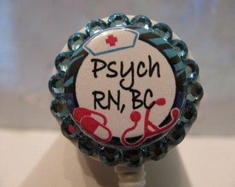 Psych Nurse ID Badge Holder Retractable Reel with Swarovski Crystals