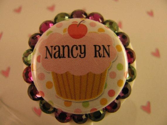 Cupcake Personalized Swarovski Crystal ID Badge Holder Retractable Reel