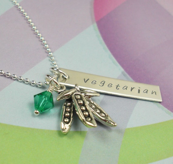 Hand Stamped Necklace: Pea Pod Vegetarian