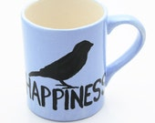 Blue Bird of Happiness Handpainted Mug