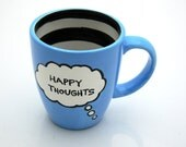 Happy Thoughts Large Mug in Turquoise Blue with Stripes