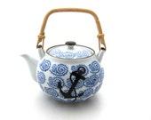 Nautical Porcelain Teapot with Anchor, Great Beach House Hostess Gift