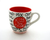 Kiss the Cook mug, great gift for mom, someone who loves to cook, gourmet chef