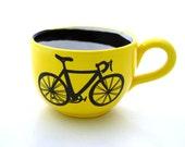 Bike Mug large for Soup or Coffee Lovers Yellow