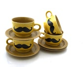 Sale Teacups Set of Four with Mustaches Vintage Mustard Gold
