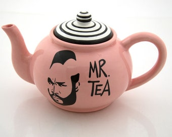 Mr.  T Tea Teapot in pink ceramic teapot holds 4 to 6 cups, funny teapot, gift for tea drinker, tea lover,80s nostalgia,funny gift