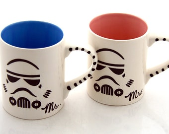 Mr and Mrs Star Wars (R) Storm Trooper Mug Set for Wedding or Anniversary, couples' mugs