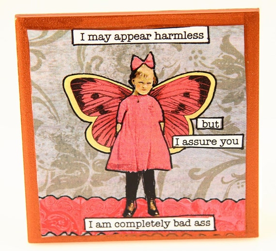 Funny Vintage inspired Collage Snarky Fairy