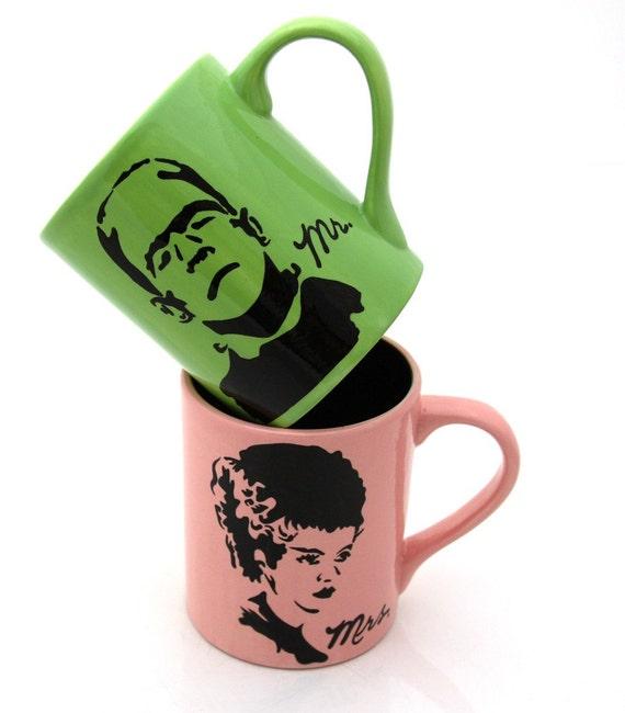 Halloween Wedding Gift Ideas: Mr And Mrs Mug Set Frankenstein And Bride Funny Halloween