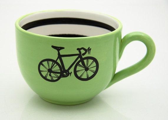 Bike Mug large for Soup or Coffee Lovers Lime Green