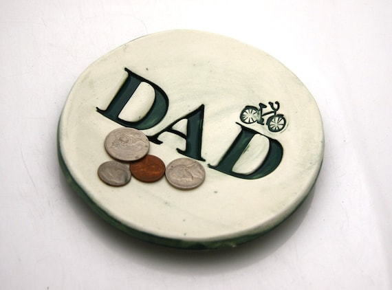 Dad Gift Change Tray Teal with Bike for Fathers Day Gift
