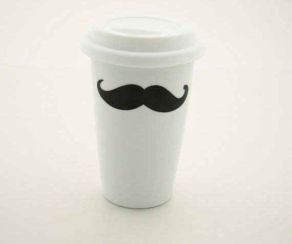 Moustache / mustache Travel Mug Double Walled Porcelain with Lid Kiln Fired