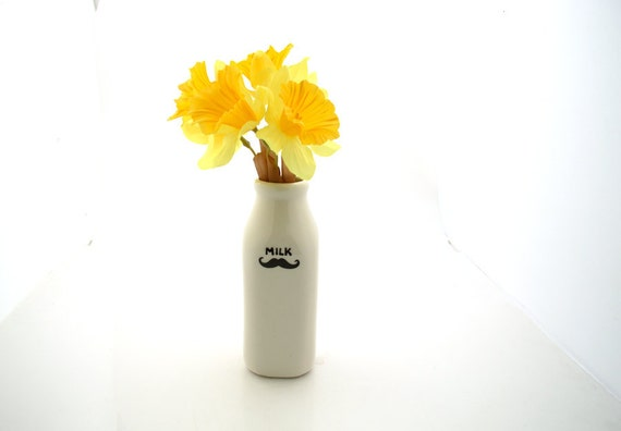 Mustache Moustache Milk Bottle Vase
