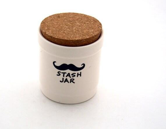 Mustache Moustache  Small Stash Jar