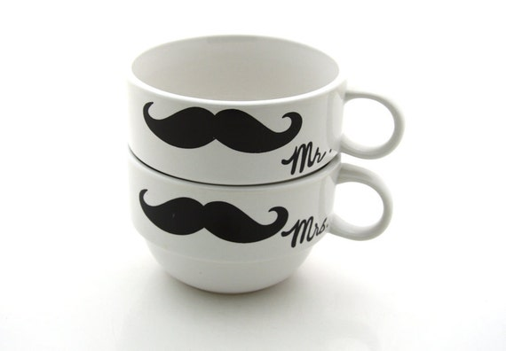 Mr and Mrs Mustache Moustache Stacking Mugs