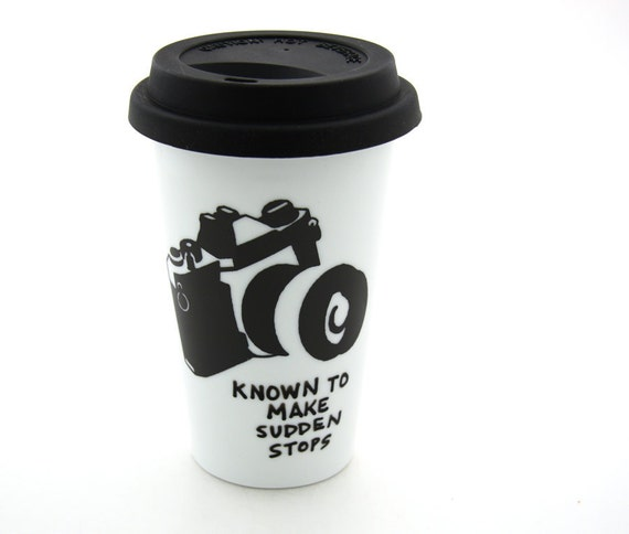 camera - travel mug ,  Sudden Stops -  Double Walled Porcelain with Silicon Lid ,  Kiln Fired , wedding photographer gift
