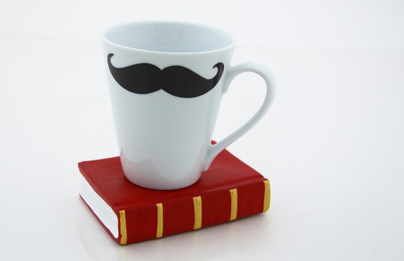 Black and White Moustache Mustache Mug Kiln Fired double sided