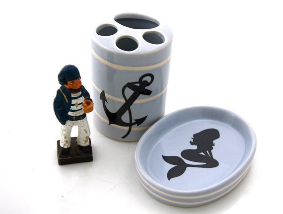 Mermaid and anchor nautical soap dish and toothbrush holder