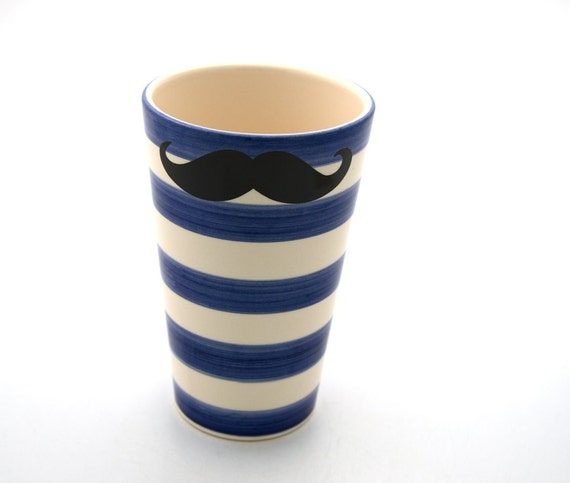 mustache moustache cup or vase with stripes