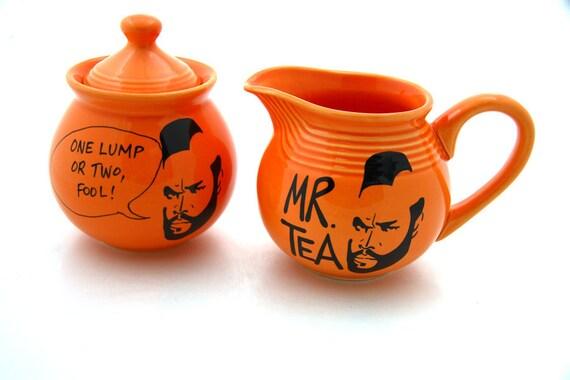 Sugar bowl creamer set Mr T Tea for teaset bright orange