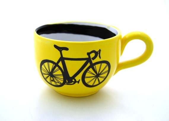Bike Mug large for Soup or Coffee Lovers Yellow