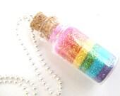 Kawaii Glitter Rainbow Fairy Dust in a Bottle Necklace