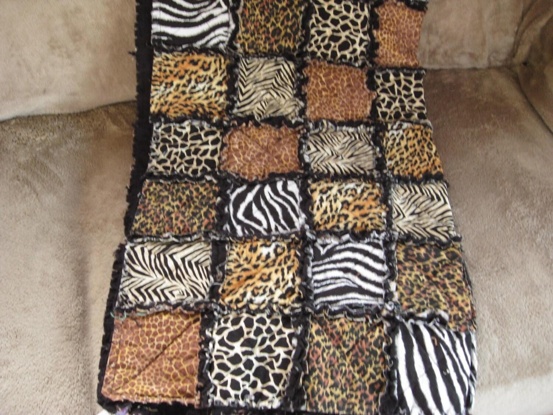 Wild Animal Print Rag Quilt Zebra Cheetah Giraffe Leopard