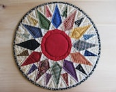 Quilted Table Mat Round Table Topper Candle Mat Trivet Primitive Rustic Country Decor Farmhouse Decor Kitchen Housewares Mariners Compass