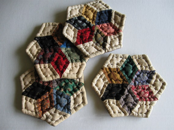 Primitive Rustic Scrappy Quilted Star Coasters