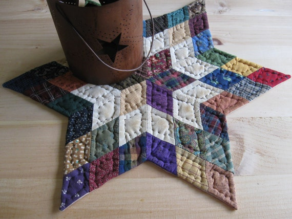 Quilted Table Topper Table Mat Candle Mat Rustic Country Decor Primitive Decor Farmhouse Kitchen Housewares