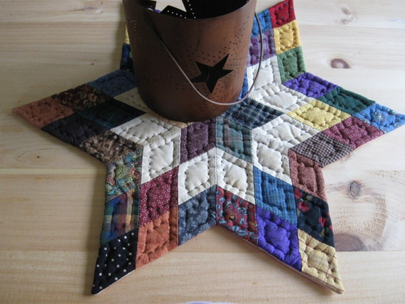 Rustic Farmhouse Quilted Table Mat Table Topper Candle Mat Rustic Primitives Country Decor Primitive Decor Farmhouse Kitchen Housewares