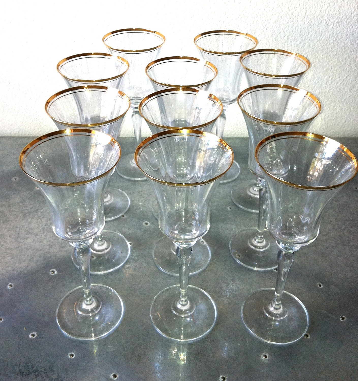 Vintage Gold Rimmed Wine Glasses Set Of 12 By