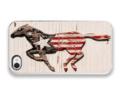 iPhone 4 Case - American Horse Photograph - custom iPhone Cover, horse photography, red white and blue rustic photo barn