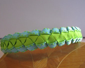 Girls Woven Ribbon Headband in Green and Aqua