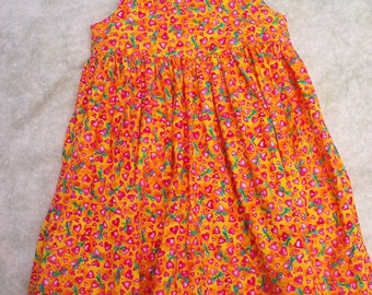 Girls Sundress in Dragonflies and Hearts  size 5 to 6