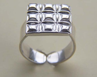 Sterling Silver Shine Square Ring