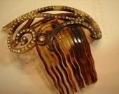 Edwardian Faux Tortoise and Paste Hair Comb
