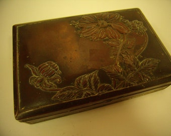Art Nouveau Bronze Top Box Floral Design