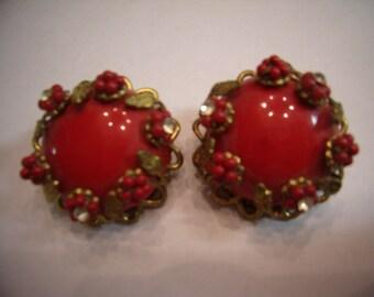 Vintage Red Ear Bobs Beads Rhinestones