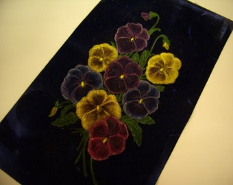 Vintage Pansies Painted on Blue Velvet