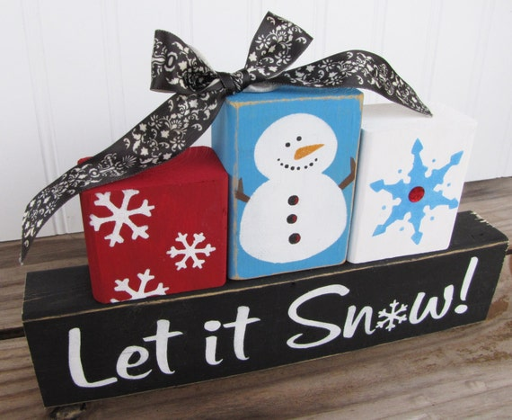 Wood Block Craft Ideas ~ Items similar to let it snow wood blocks on etsy