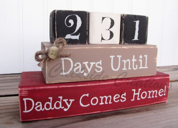 Items similar to deployment countdown blocks days until for Military welcome home party decorations